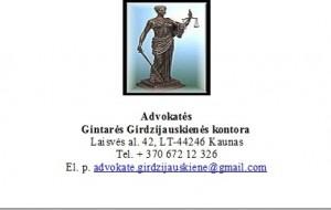 Advokatės  Gintarės Girdzijauskienės kontora